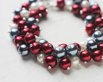 Wine Red Wedding Bridesmaids Jewelry Pearl Cluster Bracelet - Red, Grey and White for Winter Wedding