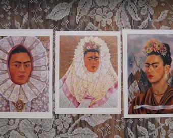 Frida Kahlo Postcard Prints - Set of 3 - Self Portraits - 1940, 1948, 1943