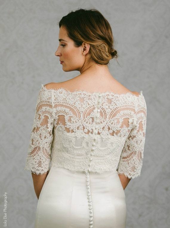 Lace bridal bolero lace bolero bridal topper bianca for Bolero jacket for wedding dress