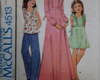 McCall's 4513 Girls Vintage Retired Dress and Top Sewing Pattern Uncut Size 12
