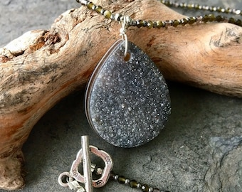 Druzy and Cats Eye Necklace