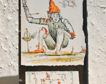 Ross Foster watercolor, english artist, clowns for the BBC