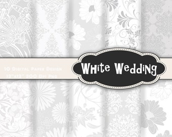 Instant Download White Wedding Damask Digital Paper Printable Paper White Flower Background Paper White Digital Scrapbook Paper Pack 0226