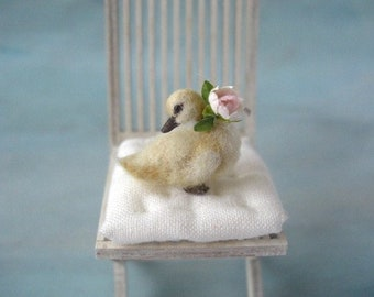 Made to order! elegant miniature gosling with rose flower OOAK, scale 1/12 dollhouse bird