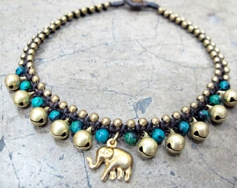 Charm Ankle Bracelet - Mini Ring Ring Bells Beaded Chrysocolla Anklet with Elephant Charm in Brass Bead