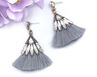 Grey tassel earrings, crystal tassel, bridesmaids earrings, bridesmaids jewelry, fringe earrings  statement earrings, gift for her