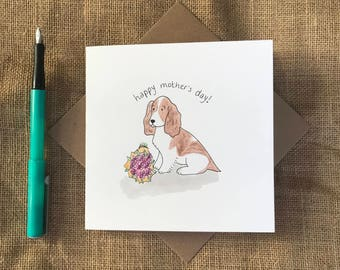 Hand painted spaniel mother's day card
