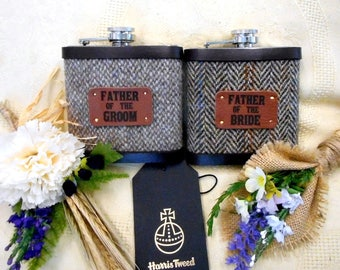 Father of the Bride and Groom Woodland Rustic or Barn wedding gifts Harris Tweed hip flasks set of two with leather labels