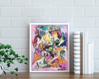 Modern Art Urban Painting Acrylic on Canvas Board Wall Art Decor White Contemporary Painting Abstract Expressionist Graffiti Painting