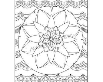 Water Lily Coloring Page- PDF Instant Download