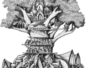 Treehouse, Giclee art print. Original drawing, Black and white art, Ink art, illustration, Ink drawing, Fine art, art print, art, drawing