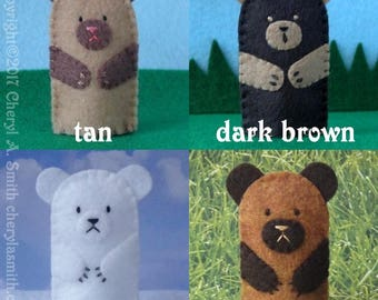 Bear Finger Puppet - Select a Color Felt Bear Puppet - Felt Finger Puppet Brown Bear - Felt Animal Puppet - Polar Bear Puppet