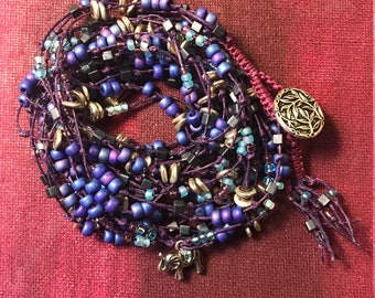 Wrap Bracelet - Purple Hues with Elephant Charm