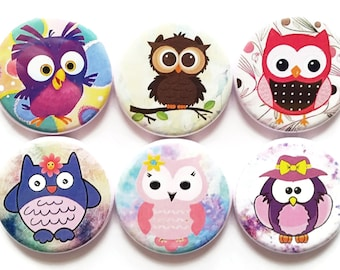 Owls, Magnets, Cute Cartoon Owls, Fridge Magnets, Colorful, Owl Magnets, Funny Owls, Cute Gift, Kid's Magnets, Refrigerator Magnet, Set of 6