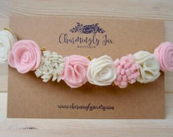 Light Pink and Ivory Felt Flower Crown, Valentine flower crown, felt flowers, flower crown toddler, flower crown girls, flower girl headband