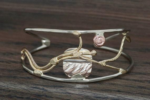 Mixed metal bracelet, cuff bracelet, bronze, copper, nickel silver, sterling silver large size