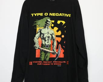 Type O Negative Shirt Vintage tshirt 1995 Pledge To Women Casket Crew Tour 1990s Long Sleeve Concert tee Peter Steele Gothic Doom metal Band