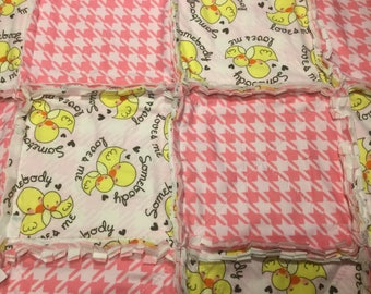 Pink Houndstooth and Duckling Love Rag Quilt Baby Blanket