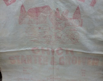 Vintage Feed Sack Faded Red Print Old Sack Farmhouse Primitive Cabin Rustic Decor