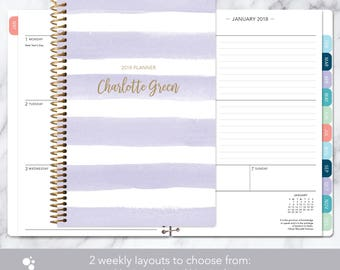 weekly planner 2018 & 2019 calendar | add monthly tabs custom student planner | personalized planner agenda | lavender watercolor stripes