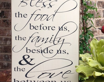 Bless the food before us, Wood Sign, Hand Painted, Prayer Sign, Wall Art, Kitchen Wood Sign, Wood Sign Saying, Sign, Christian Sign