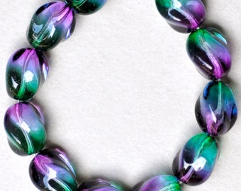 Twisted Oval Bead - Czech Glass Beads - Various Bicolors - 13mm x 10mm - Qty 10 or 25