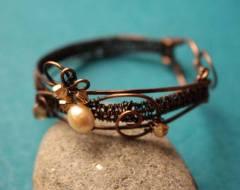 Wirework copper Bangle bracelet, Pearl, crystals