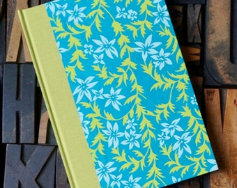Journal - Small Blank with Teal and Lime Green Floral Pattern
