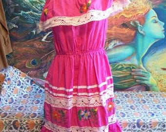 Mexican Dress, Off shoulder, Embroidered, Rose, Pink, Frida, Cinco de Mayo