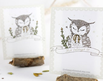 12 Bookplates - Owl & Yellow Bow
