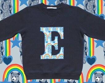 KIDS INITIAL SWEATSHIRT - Rainbow Bears Blue, alphabet sweatshirt, monogram kids sweatshirt