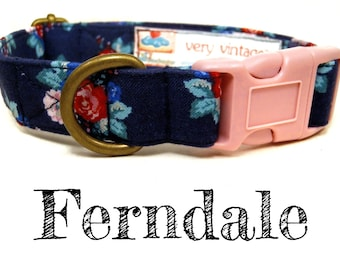 "Vintage Dog Collar - Floral Roses Dog Collar - Girl Dog Collar - Shabby Chic Dog Collar - Antique Metal Hardware - ""Ferndale"""