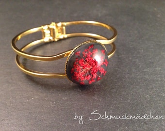 Bracelet gold dill flower red