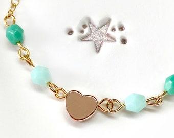 Toddler Bracelet, Rose Gold Heart Bracelet, Baby Jewelry, Girl bracelet, Charm Bracelet, Heart Bracelet, infant jewelry, ombre, green ombre