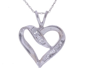 Diamond Heart Necklace, 0.33ct, 10K Gold (10N424)
