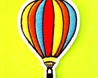 Hot Air Balloon Retro 80s Rainbow Pride Fully Embroidered Iron or Sew On Patch