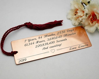7th anniversary gift copper anniversary copper bookmark seven year anniversary engraved bookmark customised present personalised gift