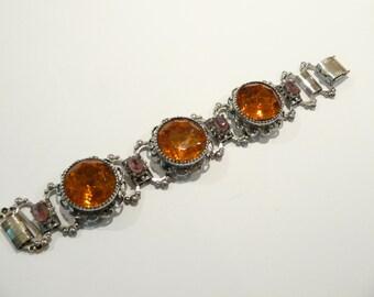 Exceptional Chunky Vintage Topaz Rhinestone Bracelet