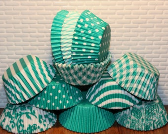 Teal Green Party Pak Cupcake Liners (Qty 70)  Green Cupcake Liners, Green Baking Cups, Green Muffin Cups, Cupcake Liners, Baking