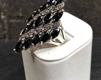 Vintage Sterling and Onyx Statement Ring Size 7.5