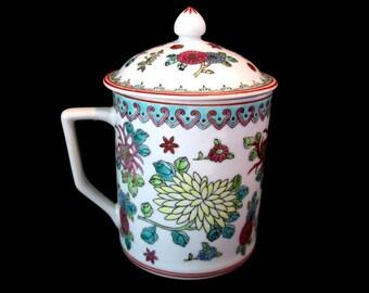 Chinese Teacup ZHONGGUO JINGDEZHEN Porcelain Lidded Mug Handpainted