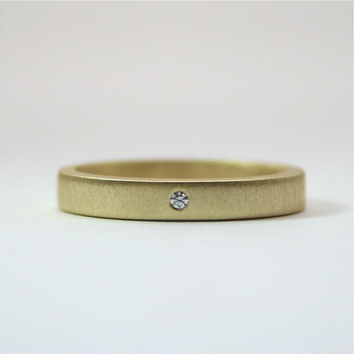 18 Karat Yellow Gold Tiny Diamond Ring 3 mm Matte Finish