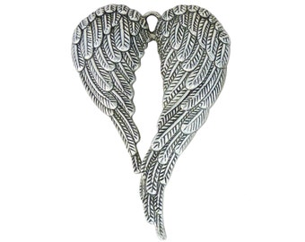 BULK 10 Spread Silver Angel Wings Pendant Extra Large 69x47mm by TIJC SP1341B