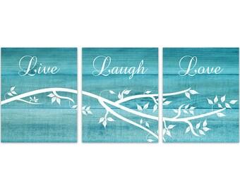 Home Decor Wall Art, Live Laugh Love CANVAS, Aqua Wall Art, Bathroom Decor, Wood Effect Art, Tree Branch Art, Aqua Bedroom Decor - HOME145