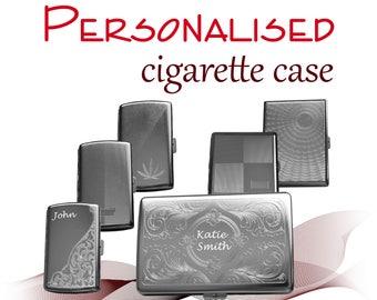 Personalised Metal Cigarette Case Tin * laser engraved *king size * medium *