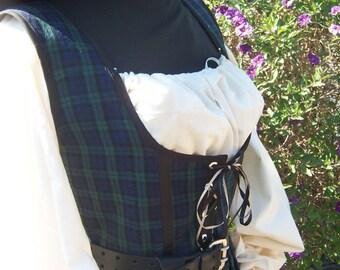 womens BlackWatch irish celtic scottish Renaissance Outlander Costume pirate wench dress gown with chemise