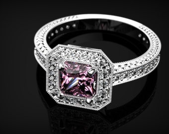 Pink Sapphire Ring White Gold Engagement Ring White Gold Pink Sapphire Ring Pink Gemstone Engagement Ring Pink Ring October