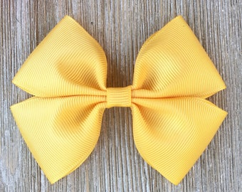 Gold stacked grosgrain ribbon hair bow for girls back to school everyday wear