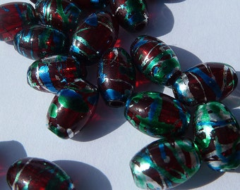 0305.002 Glass Foiled Oval , 6x9mm Red