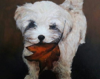 """Your Own 11"""" x 14""""  Custom Pet Portrait Oil Painting on Linen Canvas Board"""